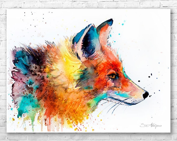 Fox 2 watercolor painting print by Slaveika Aladjova, art, animal, illustration, home decor, Nursery, gift, Wildlife, wall art