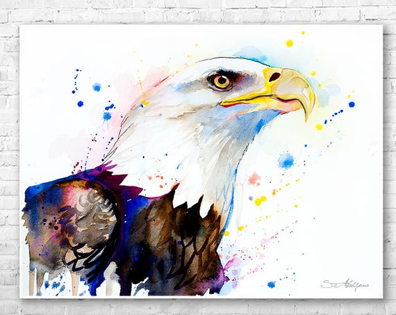 Bald Eagle head watercolor painting print by Slaveika Aladjova, art, animal, illustration, bird, home decor, wall art, Wildlife,Contemporary