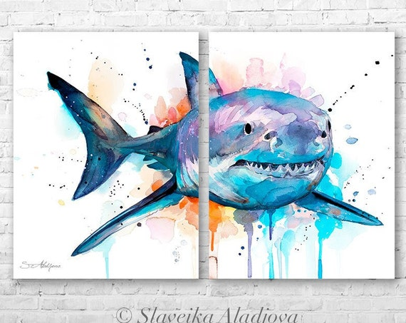 Great white shark watercolor painting print by Slaveika Aladjova, art, animal, illustration, Sea art, sea life art, home decor, Wall art