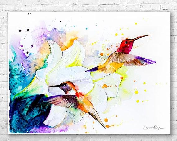 Hummingbird watercolor painting print by Slaveika Aladjova, art, animal, illustration, bird, home decor, wall art, gift, portrait, Flower