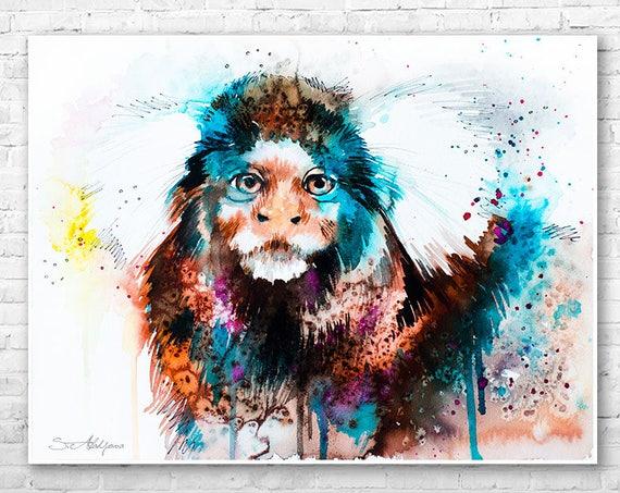Common marmoset watercolor painting print by Slaveika Aladjova, animal, illustration, home decor, Nursery, gift, Wildlife, wall art, Monkey