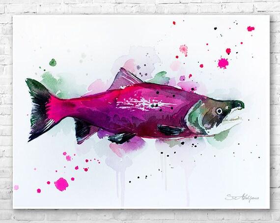 Sockeye salmon watercolor painting print by Slaveika Aladjova, art, animal, illustration, Sea art, Wall art, fish art, fish print,