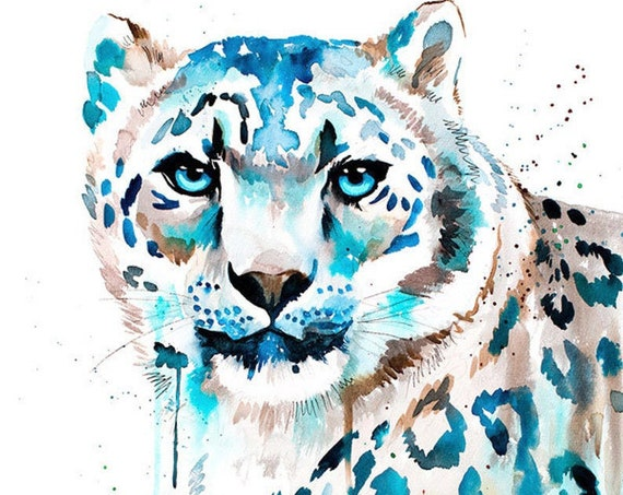 Original Watercolour Painting- Snow leopard art, animal, illustration, animal watercolor, animals paintings, animals, portrait,