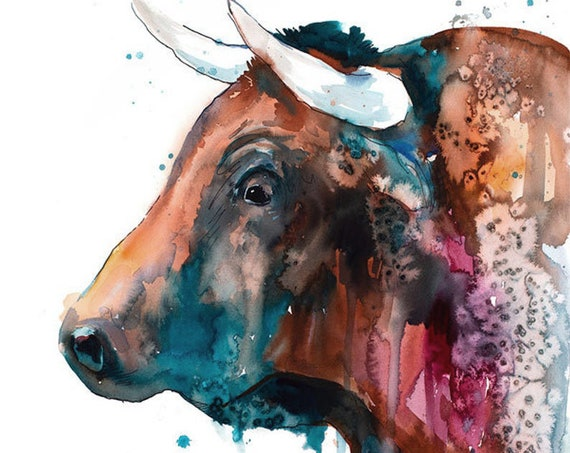 Original Watercolour Painting- Brown Bull art, animal, illustration, animal watercolor, animals paintings, animals, portrait,