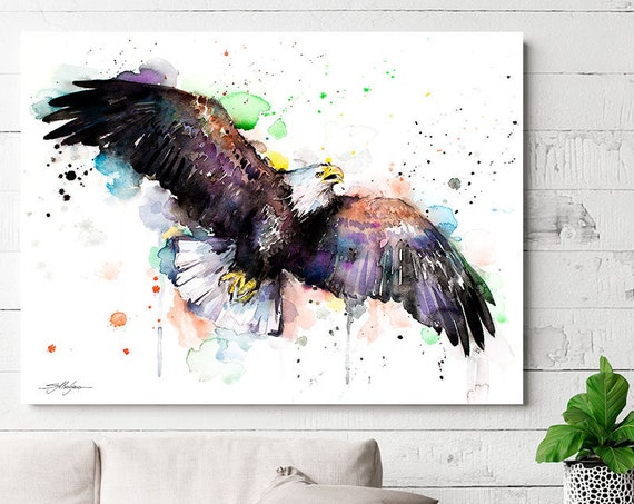 Bald Eagle watercolor painting print by Slaveika Aladjova, animal, illustration, bird art, wall art, home decor, wildlife, gift,Giclee Print