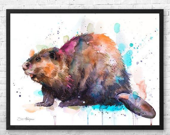 Beaver watercolor framed canvas by Slaveika Aladjova, Limited edition, art, animal watercolor, animal illustration, art