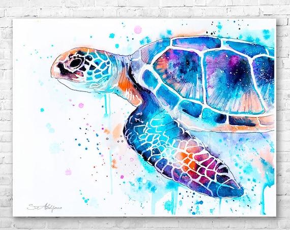Sea turtle watercolor painting print by Slaveika Aladjova, art, animal, illustration, Sea art, sea life art, home decor, Wall art