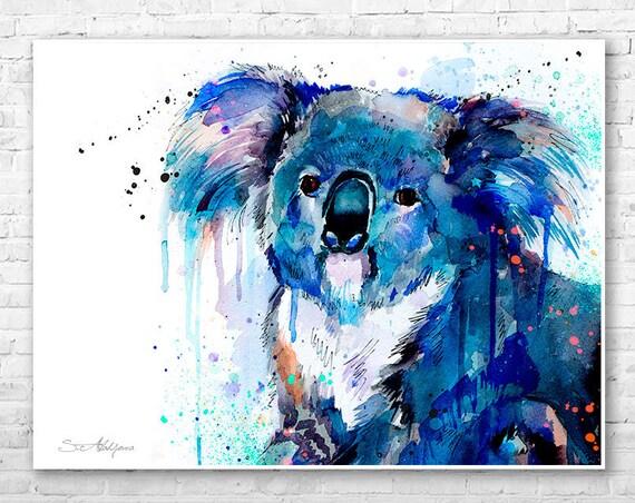 Koala watercolor painting print by Slaveika Aladjova, art, animal, illustration, bird, home decor, Nursery, gift, Wildlife, wall art