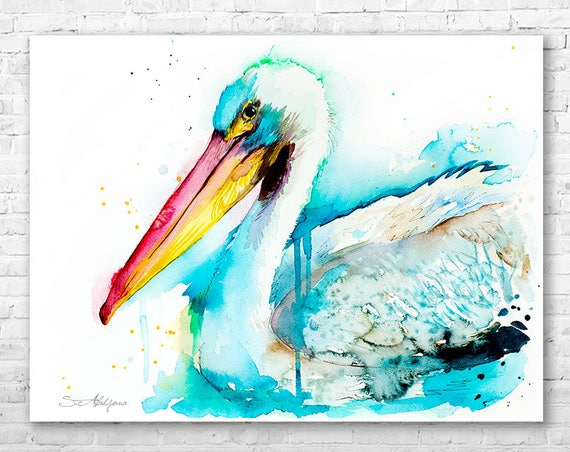 American White Pelican watercolor painting print by Slaveika Aladjova, art, animal, illustration, bird, home decor, wall art, gift