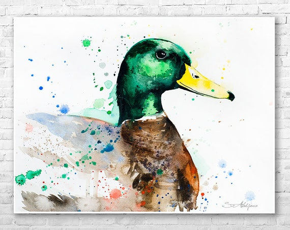 Mallard Duck watercolor painting print by Slaveika Aladjova, art, animal, illustration, bird, home decor, wall art, gift, Nursery