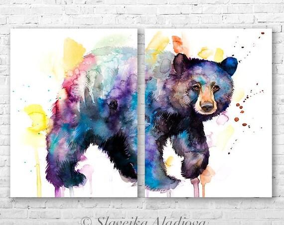 American black bear watercolor painting print  by Slaveika Aladjova, animal, illustration, home decor, Nursery, gift, Wildlife, wall art