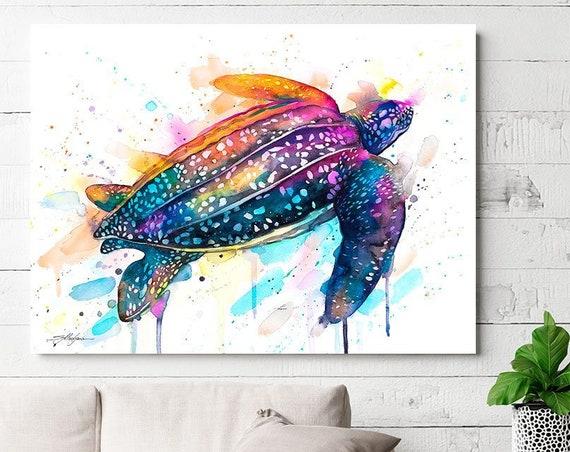 Leatherback sea turtle watercolor painting print by Slaveika Aladjova, art,animal, illustration, Sea art, sea life art, home decor, Wall art