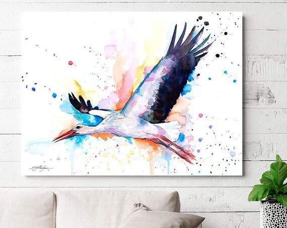 Stork watercolor painting print by Slaveika Aladjova, art, animal, illustration, bird, home decor, wall art, Wildlife, Contemporary