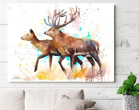 Deer love watercolor painting print by Slaveika Aladjova, art, animal, illustration, home decor, Nursery, gift, Wildlife, wall art