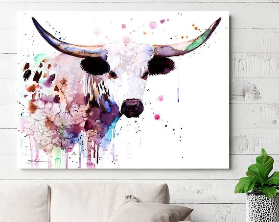 Longhorn watercolor painting print by Slaveika Aladjova, animal art, illustration,wall art, home decor, gift, Giclee Print, Cow, farm