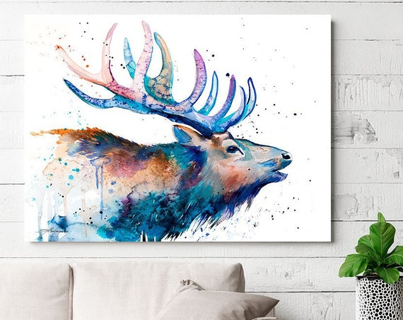 Red deer watercolor painting print by Slaveika Aladjova, art, extra large canvas, animal, illustration, home decor, Contemporary, STAGS art