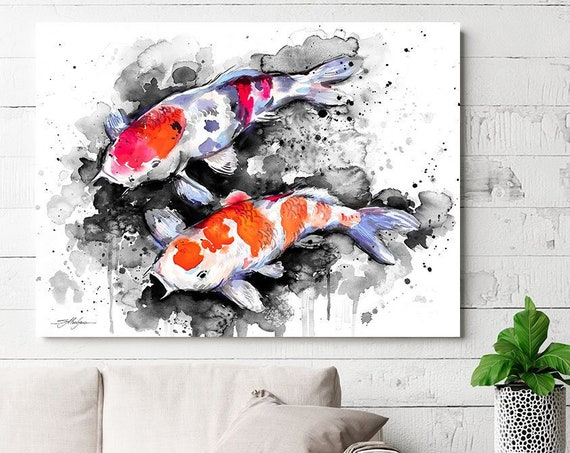 Black and white Koi watercolor painting print by Slaveika Aladjova, art, animal, illustration, home decor, Nursery, Wildlife, wall art, fish