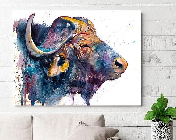 African buffalo watercolor painting print by Slaveika Aladjova, art, animal, illustration, home decor, Nursery, gift, Wildlife, wall art,