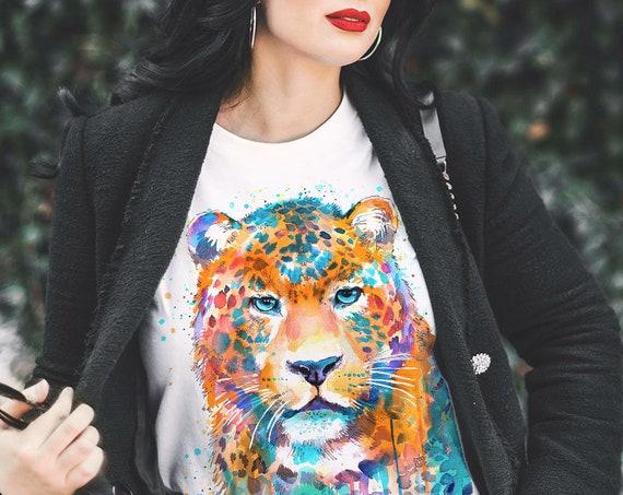 Panther Leopard Jaguar T-shirt, Unisex T-shirt, ring spun Cotton 100%, watercolor print T-shirt, T shirt art, T shirt animal,
