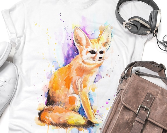 Fennec fox, Sahara T-shirt, Unisex T-shirt, ring spun Cotton 100%, watercolor T-shirt, T shirt art, T shirt animal, XS, S, M, L, XL, XXL