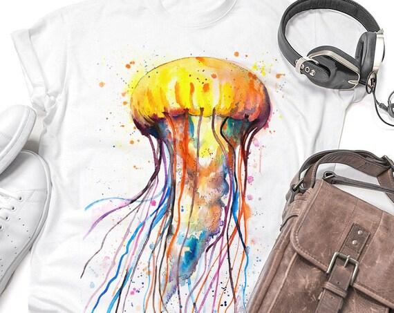 Jellyfish T-shirt, Unisex T-shirt, ring spun Cotton 100%, watercolor print T-shirt,T shirt art,T shirt animal, XS, S, M, L, XL, XXL