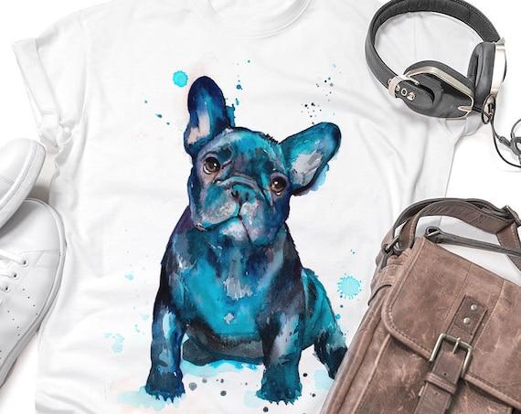 Black French Bulldog watercolor ladies' T-shirt, women's tees, Teen Clothing, Girls' Clothing, ring spun Cotton 100%,  T-shirt,art