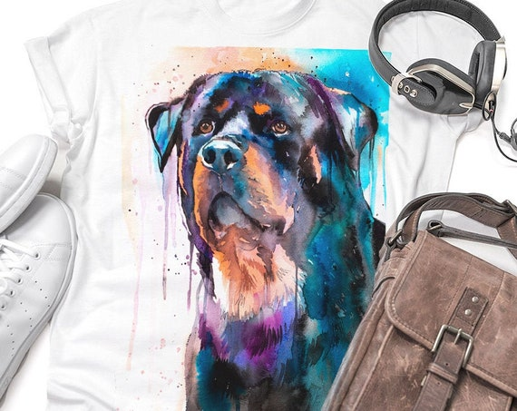 Rottweiler T-shirt, Unisex T-shirt, ring spun Cotton 100%, watercolor print T-shirt, T shirt art, T shirt animal,XS, S, M, L, XL, XXL
