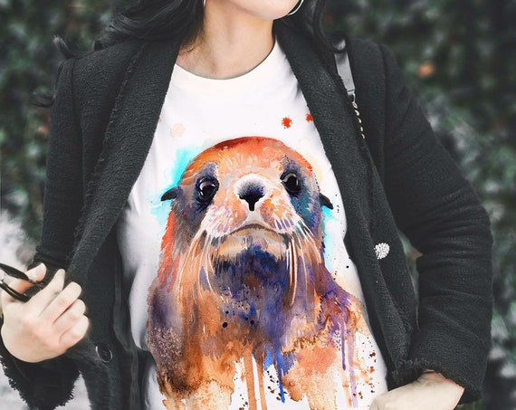 Fur seal T-shirt, Unisex T-shirt, ring spun Cotton 100%, watercolor print T-shirt, T shirt art, T shirt animal,XS, S, M, L, XL, XXL