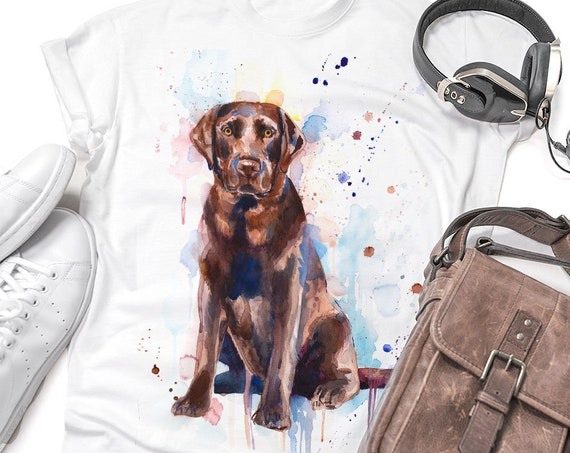Chocolate Labrador T-shirt, Unisex T-shirt, ring spun Cotton 100%, watercolor print T-shirt, T shirt art,T shirt animal,XS, S, M, L, XL, XXL
