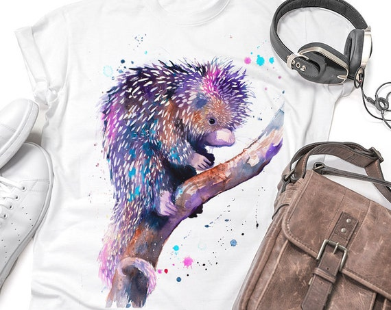 Prehensile-tailed porcupine T-shirt, Unisex T-shirt, Cotton 100%, watercolor print T-shirt, T shirt art, T shirt animal,XS, S, M, L, XL, XXL