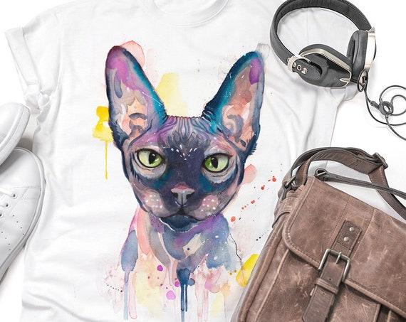 Sphynx cat T-shirt, Unisex T-shirt, ring spun Cotton 100%, watercolor print T-shirt, T shirt art, T shirt animal,XS, S, M, L, XL,