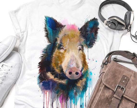 Wild boar T-shirt, Unisex T-shirt, ring spun Cotton 100%, watercolor print T-shirt, T shirt art, T shirt animal, XS, S, M, L, XL