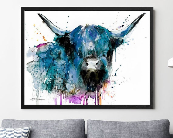 Black Highland Cow Cattle watercolor framed canvas by Slaveika Aladjova, Limited edition, animal watercolor, animal illustration,large print