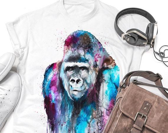 Gorilla T-shirt, Unisex T-shirt, ring spun Cotton 100%, watercolor print T-shirt, T shirt art, T shirt animal, XS, S, M, L, XL