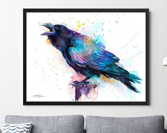 Raven watercolor framed canvas by Slaveika Aladjova, extra large canvas, Limited edition, art, animal watercolor, illustration, bird art