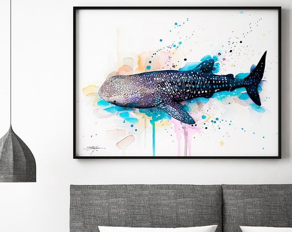 Whale shark watercolor framed canvas by Slaveika Aladjova, Limited edition, art, animal watercolor, animal illustration, extra large print