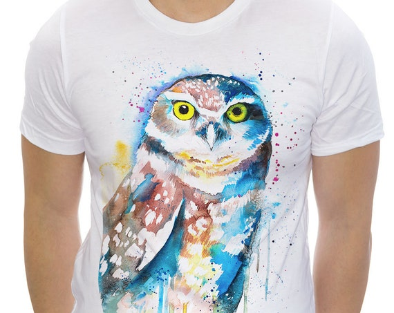 Burrowing owl T-shirt, Unisex T-shirt, ring spun Cotton 100%, watercolor print T-shirt, T shirt art, T shirt animal,XS, S, M, L, XL, XXL