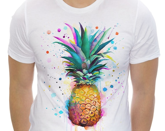 Pineapple T-shirt, Unisex T-shirt, ring spun Cotton 100%, watercolor print T shirt art, T shirt print ,XS, S, M, L, XL, XXL