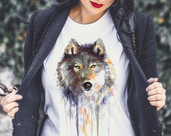 Gray wolf T-shirt, Ladies' T-shirt with wolf print, women's tees, Wolf Lover Gift idea, Graphic tee, ring spun Cotton 100%