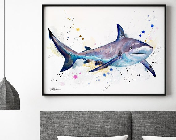 Grey reef shark watercolor framed canvas by Slaveika Aladjova, Limited edition, art, animal watercolor, animal illustration,