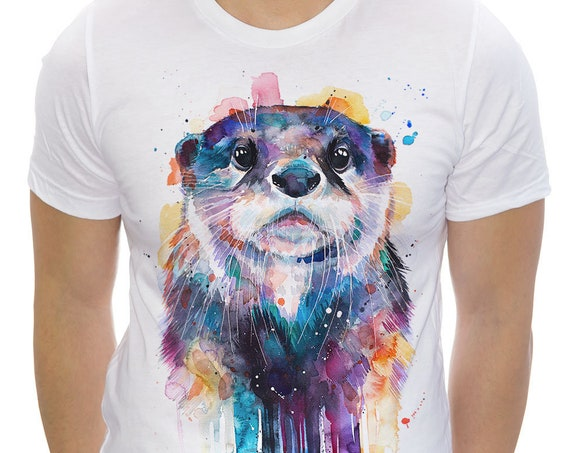 Otter T-shirt, Unisex T-shirt, ring spun Cotton 100%, watercolor print T-shirt, T shirt art, T shirt animal, XS, S, M, L, XL