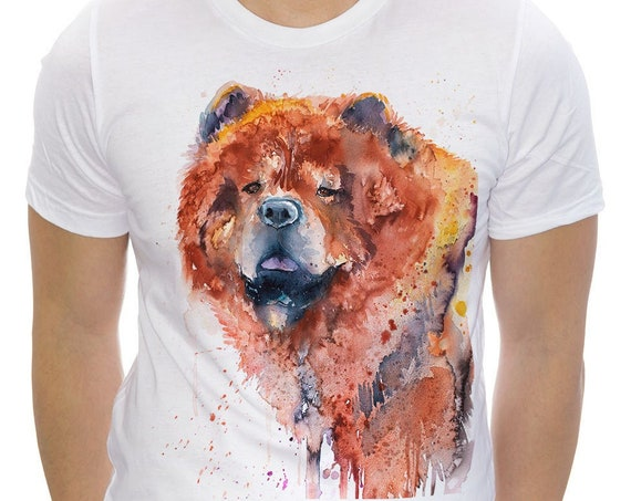 Chow Chow T-shirt, Unisex T-shirt, ring spun Cotton 100%, watercolor print T-shirt, T shirt art, T shirt animal,XS, S, M, L, XL, XXL