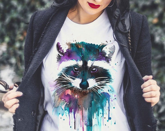 Raccoon watercolor ladies' T-shirt, women's tees, Teen Clothing, Girls' Clothing, ring spun Cotton 100%, watercolor print T-shirt, art