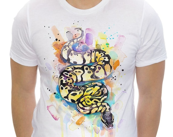 Pastel Ball Python T-shirt, Unisex T-shirt, ring spun Cotton 100%, watercolor print T-shirt, T shirt art, T shirt animal, S, M, L, XL, XXL