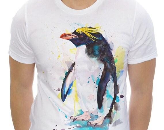 Macaroni penguin T-shirt, Unisex T-shirt, ring spun Cotton 100%, watercolor print T-shirt,T shirt art,T shirt animal, XS, S, M, L, XL, XXL