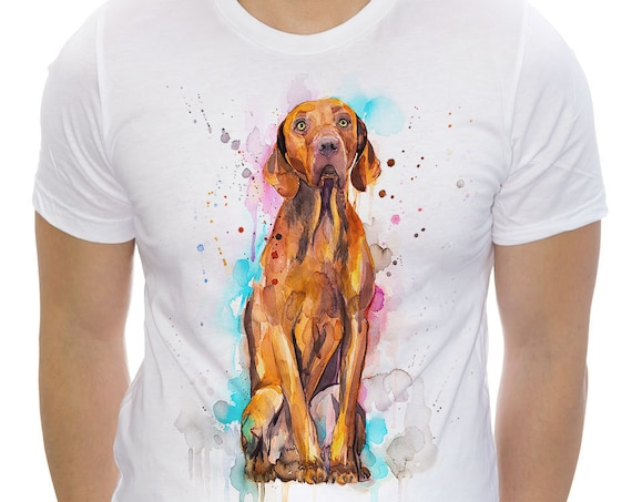 Vizsla T-shirt, Unisex T-shirt, ring spun Cotton 100%, watercolor print T-shirt, T shirt art, T shirt animal,XS, S, M, L, XL, XXL
