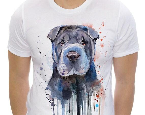 Shar Pei T-shirt, Unisex T-shirt, ring spun Cotton 100%, watercolor print T-shirt, T shirt art, T shirt animal,XS, S, M, L, XL, XXL