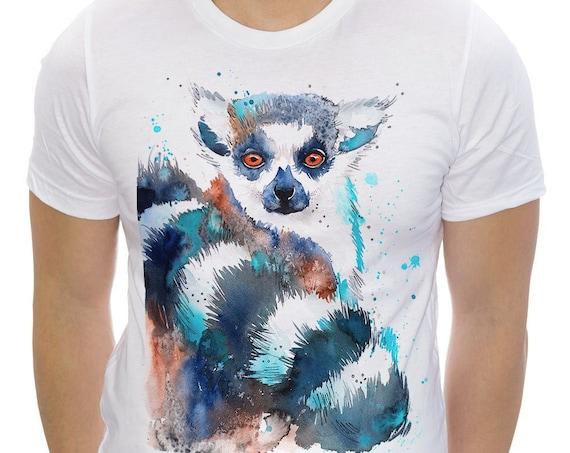 Ring-tailed lemur T-shirt, Unisex T-shirt, ring spun Cotton 100%, watercolor print T-shirt, T shirt art, T shirt animal, XS, S, M, L, XL