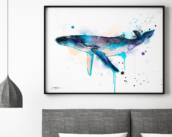 Humpback whale  watercolor framed canvas by Slaveika Aladjova, Limited edition, art, animal watercolor, animal illustration,