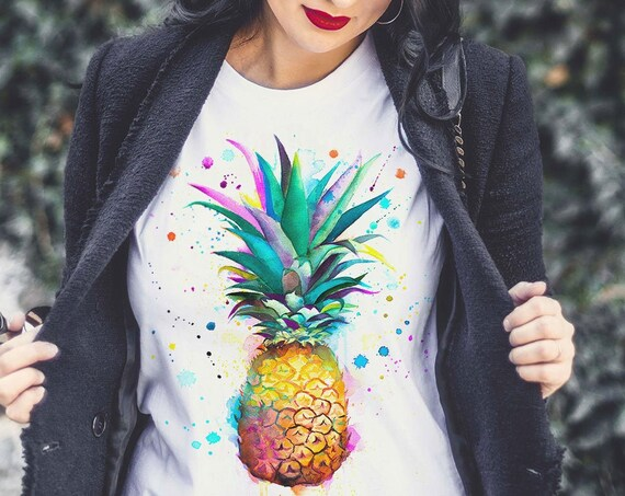 Pineapple watercolor ladies' T-shirt, women's tees, Teen Clothing, Girls' Clothing, ring spun Cotton 100%, watercolor print